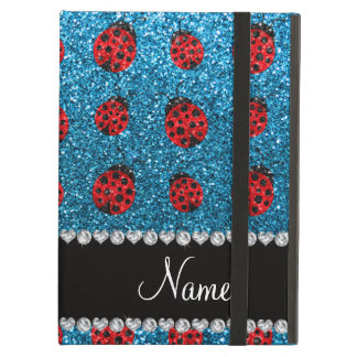 Personalized name sky blue glitter ladybug iPad air cover