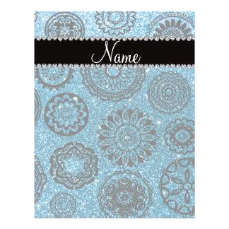 Personalized name sky blue glitter mandalas custom flyer