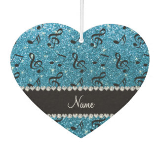Personalized name sky blue glitter music notes car air freshener