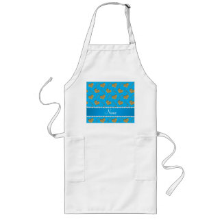 Personalized name sky blue gold hearts mom love long apron