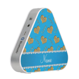 Personalized name sky blue gold hearts mom love