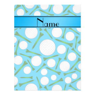Personalized name sky blue golf balls tees flyers