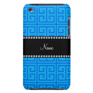 Personalized name sky blue greek key pattern barely there iPod covers