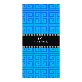 Personalized name sky blue greek key pattern picture card