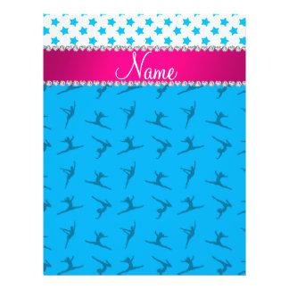 Personalized name sky blue gymnastics blue stars flyers