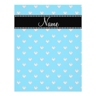 Personalized name sky blue heart diamonds personalized flyer