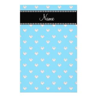 Personalized name sky blue heart diamonds stationery