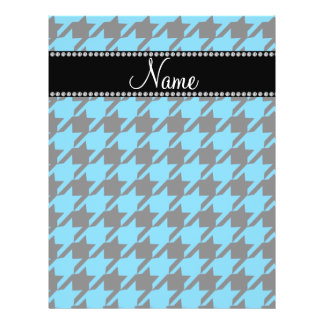 Personalized name sky blue houndstooth pattern 21.5 cm x 28 cm flyer