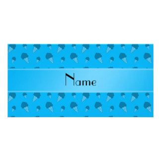 Personalized name sky blue ice cream pattern picture card