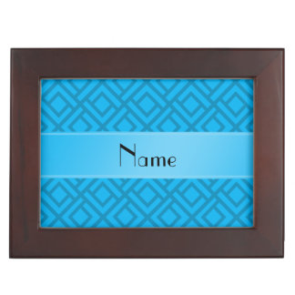 Personalized name sky blue interlocking triangles memory boxes