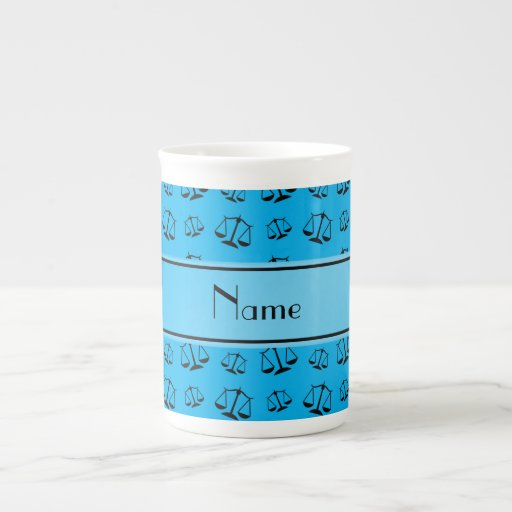 Personalized name sky blue justice scales porcelain mugs