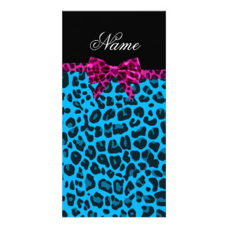 Personalized name sky blue leopard print pink bow picture card