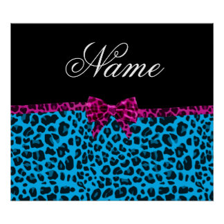 Personalized name sky blue leopard print pink bow
