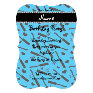 Personalized name sky blue mascara hearts bows 13 cm x 18 cm invitation card