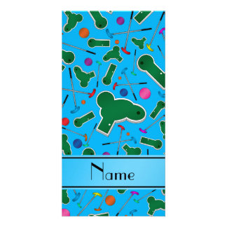 Personalized name sky blue mini golf personalized photo card