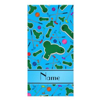 Personalized name sky blue mini golf photo card template