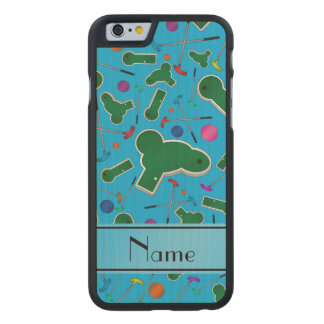 Personalized name sky blue mini golf carved® maple iPhone 6 case
