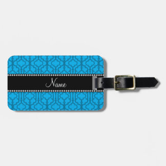 Personalized name sky blue moroccan quatrefoil luggage tag