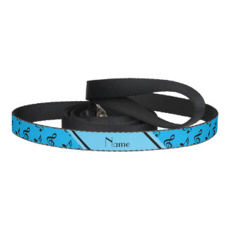 Personalized name sky blue music notes dog leash