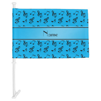 Personalized name sky blue music notes car flag