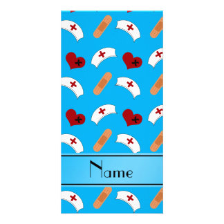 Personalized name sky blue nurse pattern photo card template