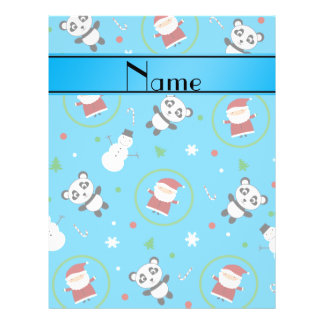 Personalized name sky blue panda santas christmas custom flyer