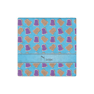 Personalized name sky blue peanut butter jelly stone magnet