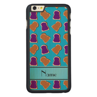 Personalized name sky blue peanut butter jelly carved® maple iPhone 6 plus slim case