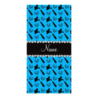 Personalized name sky blue perfume lipstick bows personalized photo card