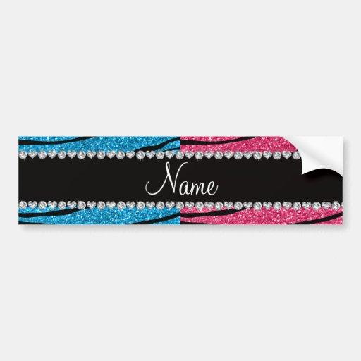 Personalized name sky blue pink glitter zebra bumper stickers