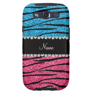 Personalized name sky blue pink glitter zebra galaxy SIII cover