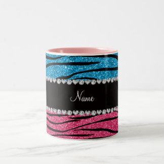 Personalized name sky blue pink glitter zebra coffee mugs