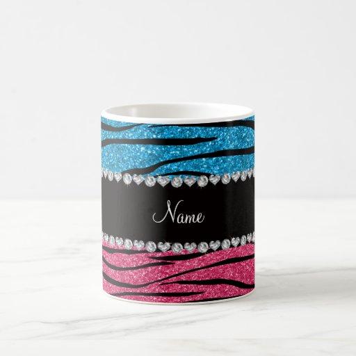 Personalized name sky blue pink glitter zebra coffee mug