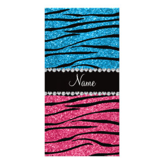 Personalized name sky blue pink glitter zebra photo greeting card