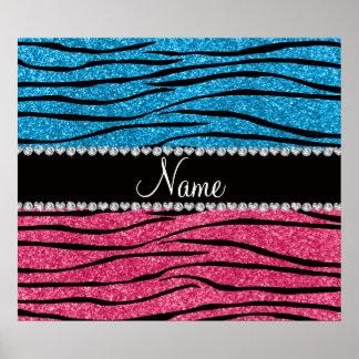 Personalized name sky blue pink glitter zebra print