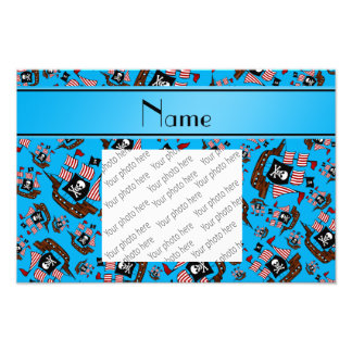Personalized name sky blue pirate ships photo art