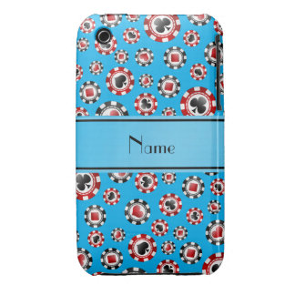 Personalized name sky blue poker chips iPhone 3 cases
