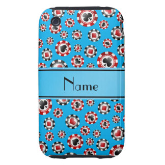 Personalized name sky blue poker chips iPhone 3 tough covers