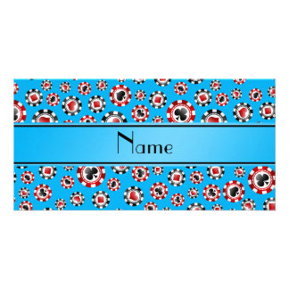 Personalized name sky blue poker chips custom photo card
