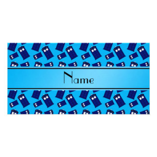 Personalized name sky blue police box photo card template