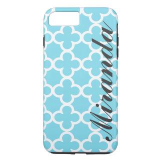 Personalized Name Sky Blue Quatrefoil Pattern iPhone 8 Plus/7 Plus Case