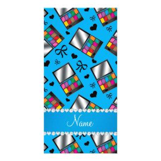 Personalized name sky blue rainbow eyeshadow personalized photo card