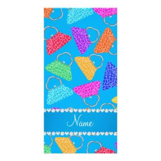 Personalized name sky blue rainbow leopard purses photo card