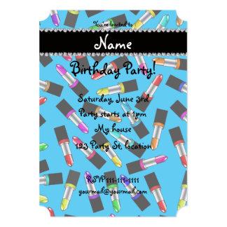 Personalized name sky blue rainbow lipstick 13 cm x 18 cm invitation card