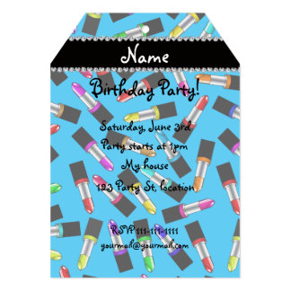 "Personalized name sky blue rainbow lipstick 5"" x 7"" invitation card"