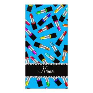Personalized name sky blue rainbow lipstick photo card