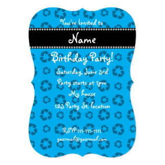 """Personalized name sky blue recycling pattern 5"""" x 7"""" invitation card"""