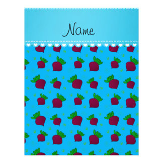 Personalized name sky blue red beets 21.5 cm x 28 cm flyer