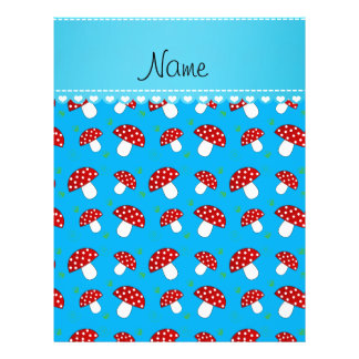 Personalized name sky blue red mushrooms 21.5 cm x 28 cm flyer