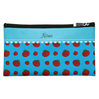 Personalized name sky blue red tomatoes cosmetic bags
